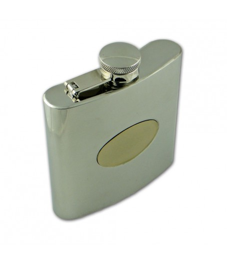 Polished Steel / Gold Badge Flask (6oz)